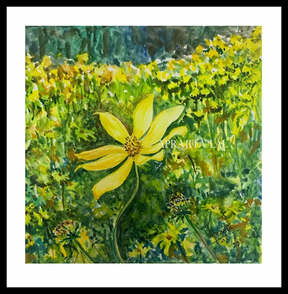 """A Trail of Yellow Wildflowers"" in watercolors by Aprajita Lal"