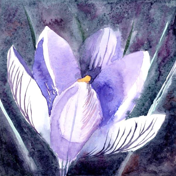 Night Crocus Art | Machalarts Watercolor Studio
