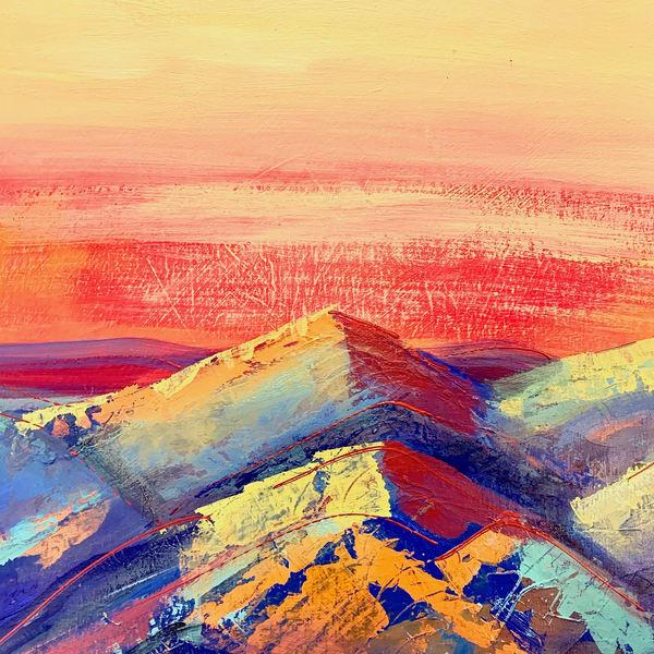 Sunset Mountains Art | L BaLoMbiNi / red paint studio