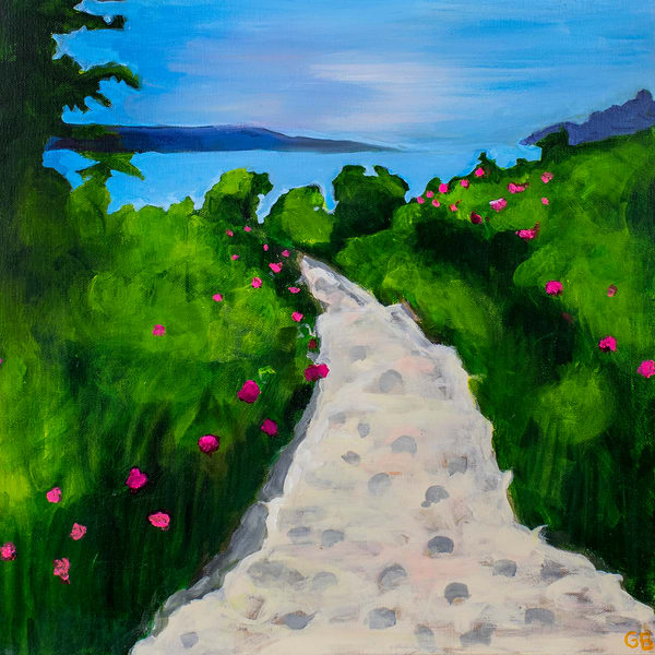 Wild Roses On The Path To The Beach, Maine Art | RPAC Gallery