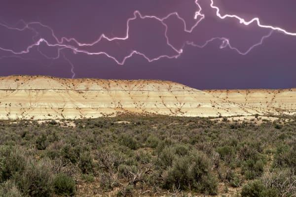 Nevada Badlands Under Lightning Photography Art | Great Wildlife Photos, LLC