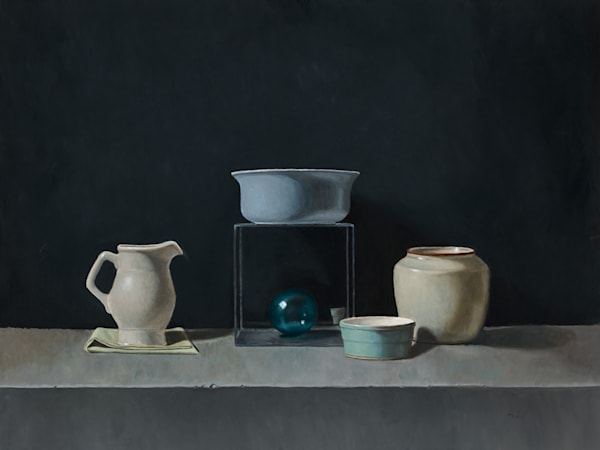Blue Bowl With Glass Ball Art | Fountainhead Gallery