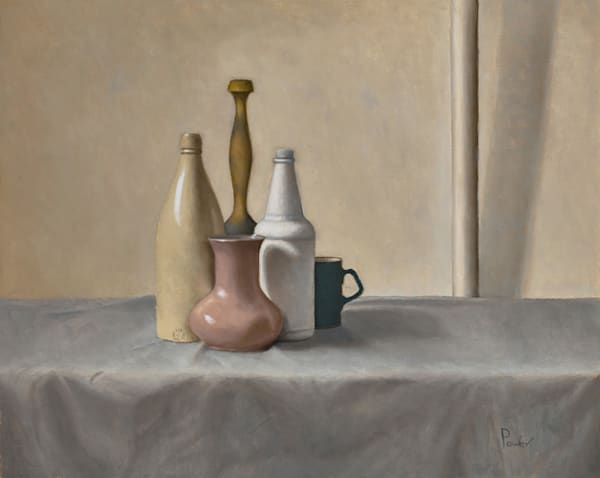 Pink Vase With Two Bottles Art | Fountainhead Gallery