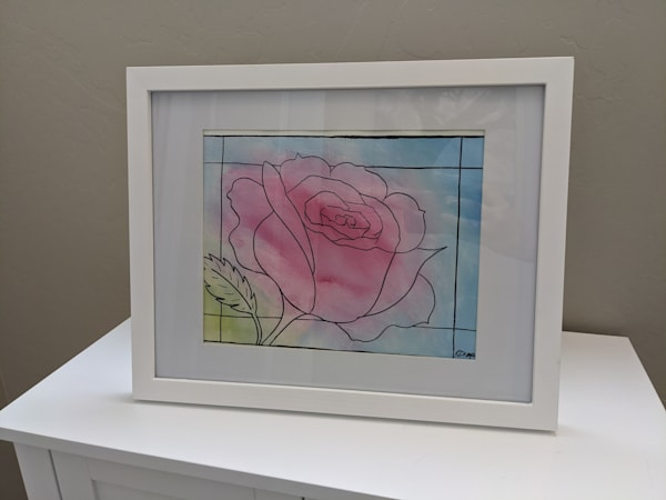 "#29 - Framed Faux Stained Glass Rose - 9x12"" Canvas Paper (Outer dimensions:15x12"")"