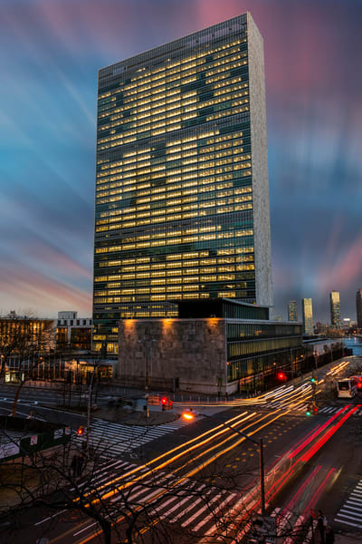United Nations at Twilight by photographer F.M. Kearney