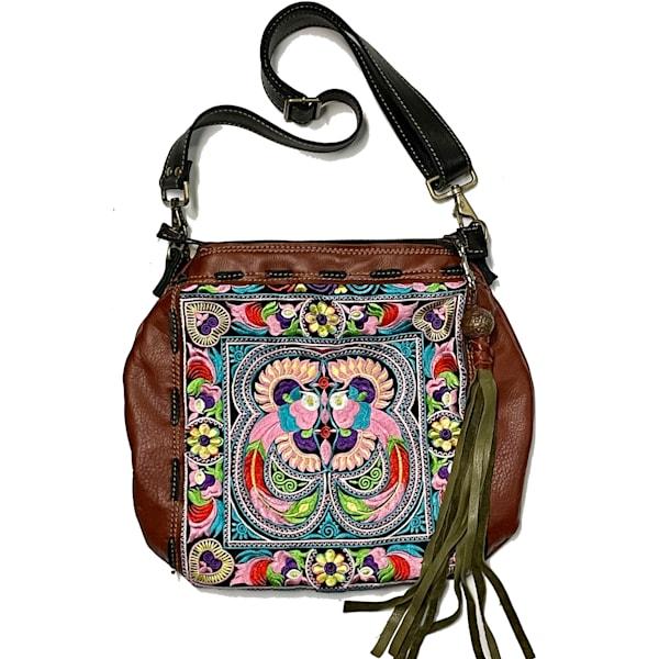 Thai Embroidered Bag In Pink Bird | Urban Gypsy Design