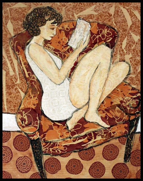 A Quiet Read is a textile mosaic by Sharon Tesser