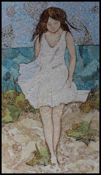 Walking In Sunshine is a textile mosaic original by Sharon Tesser,