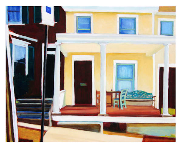 Yellow House With Porch Art   Courtney Miller Bellairs Artist