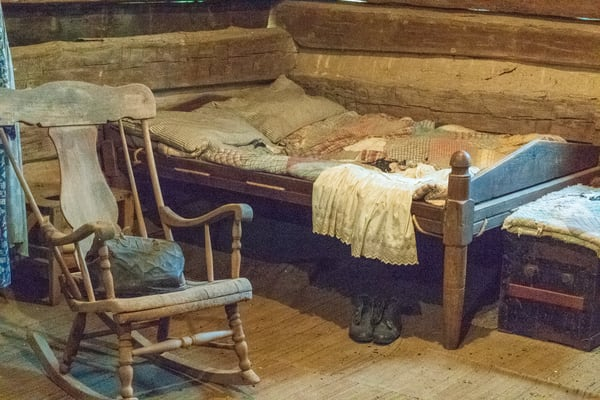 Rope Bed In Log Cabin With Doctors Bag. Photography Art | Great Wildlife Photos, LLC