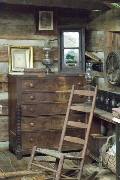 Dresser And Ladderback Chair In Log Cabin Photography Art | Great Wildlife Photos, LLC