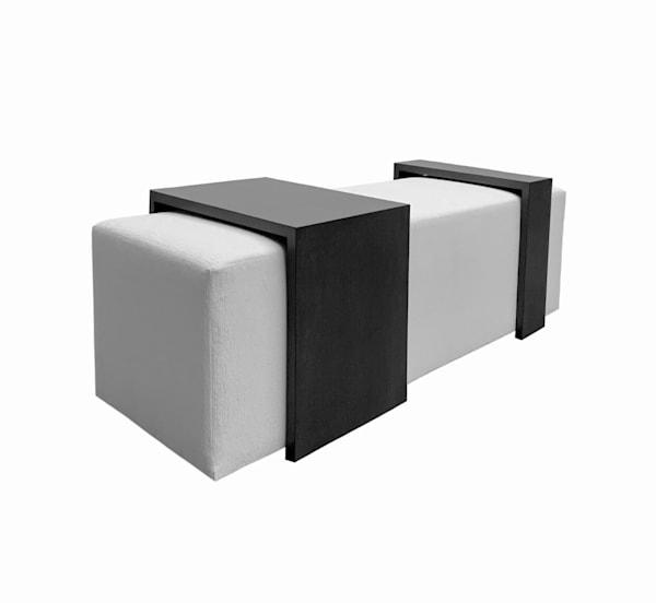 Coda Ottoman + Gliding Tables Art | Susan Hopkins Interior Design | Onyx + Ivory