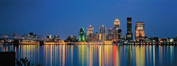 Louisville Skyline at Night pan