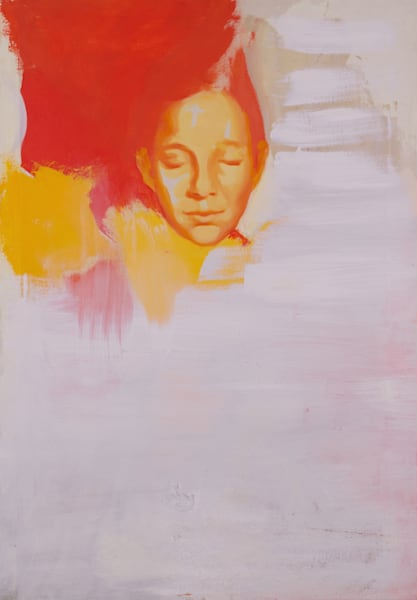 Face In Orange Art | Samantha visual art