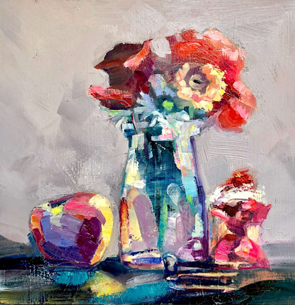 """Romantic colorful floral """"Still Life With Red Roses Apple  and Cupcake( Apples of Gold)"""". Lush vibrant oil painting"""