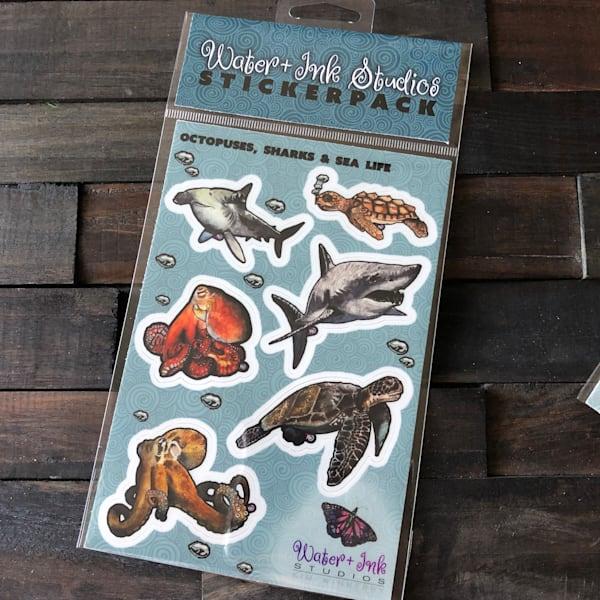 Sea Life Sticker Sheet   Water+Ink Studios