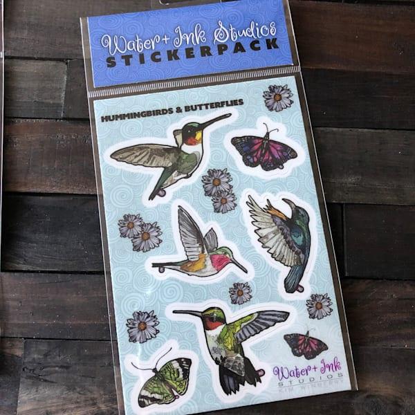 Hummingbird And Butterfly Sticker Sheet   Water+Ink Studios