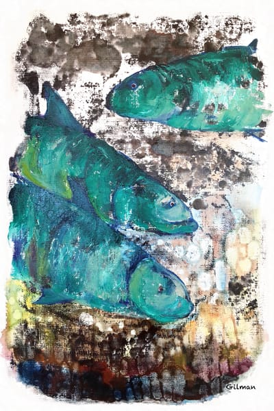 """3 Fish"" Original Artwork by Emily Gilman Beezley"