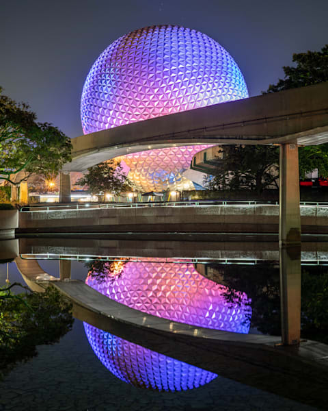 Spaceship Earth Reflections - Large Disney Wall Art | William Drew Photography
