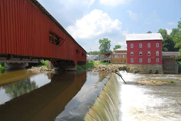 Covered Bridge And Mill In Bridgeton, In Photography Art | RAndrews Photos