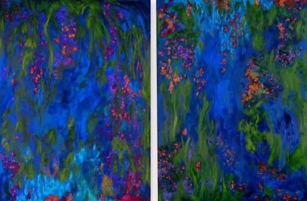 Blue Lagoon 1 And 2 Diptych Art | Rhona LK Schonwald
