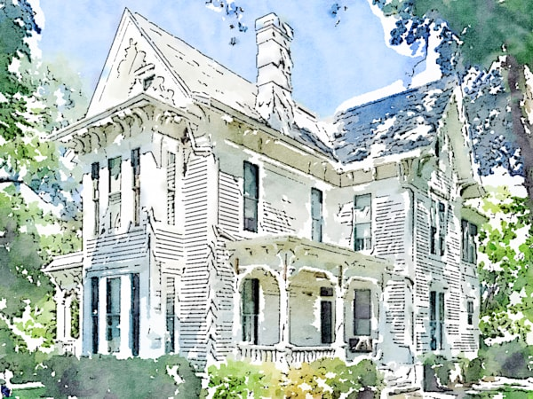 watercolor-photo, victorian-style, house, photograph, print, truman