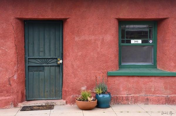 Green door, red house