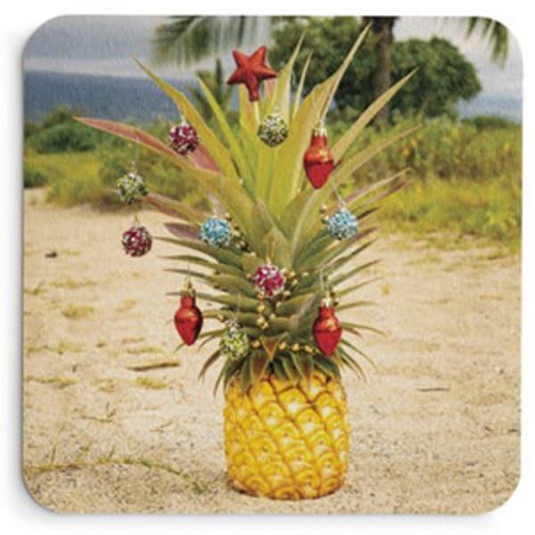 Christmas Pineapple On Sand Coaster Set | Bird In Paradise