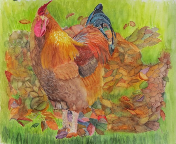 Rooster Rustling in the Leaves