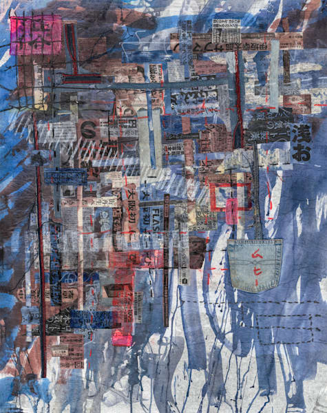 by Muffy Clark Gill is from a series of mixed media artwork. A 2019 indigo and Shibori workshop trip to Japan provided the subject matter. Chaos, clutter, and color were feelings evoked while viewing the scenes in transit at Shibuya Crossing—the wo