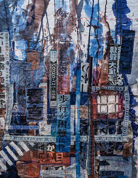 """Shibuya Crossing"" by Muffy Clark Gill is from a series of mixed media artwork. A 2019 indigo and Shibori workshop trip to Japan provided the subject matter. Chaos, clutter, and color were feelings evoked while viewing the scenes in transit at Shibu"