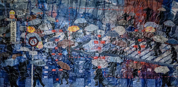 """""""Shibuya Rain"""" by Muffy Clark Gill is from a series of mixed media artwork. A 2019 indigo and Shibori workshop trip to Japan provided the subject matter. Chaos, clutter, and color were feelings evoked while viewing the scenes in transit at Shibuya C"""