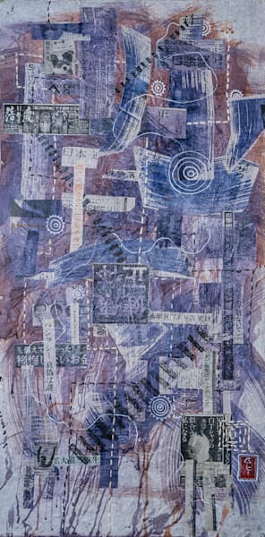 """""""Covid 1"""" by Muffy Clark Gill is from a series of mixed media artwork known as the Shibuya series. A 2019 indigo and Shibori workshop trip to Japan provided the subject matter."""