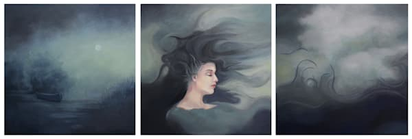 Triptych oil and cold wax painting of storm personified
