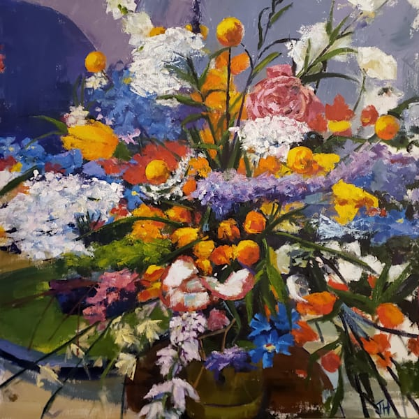 Bouquet of flowers painted in oil