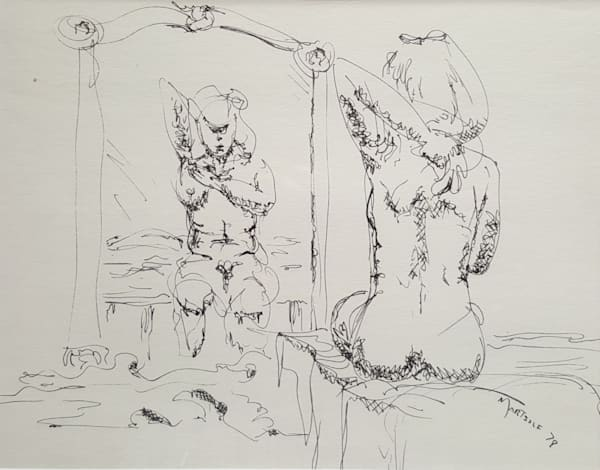 Woman Drying Herself after Bathing - Original Ink on Paper Drawing