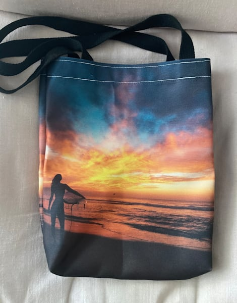 Sunrise Surf Beach Bag Photography Art   Silver Sun Photography