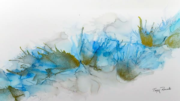 Blues Grays and Gold, Abstract Ink Painting by Terry Rosiak