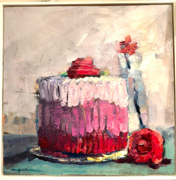 """Still life floral """"Sweet 5""""  by Monique Sarkessian still Llife with pink cake oil painting.."""