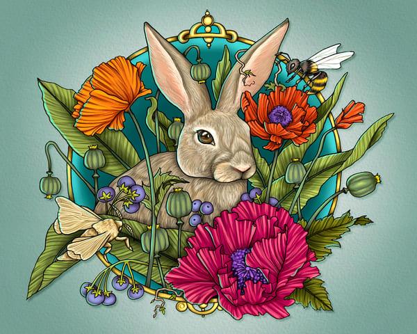 Rabbit And Poppies Art | Kyle Creative