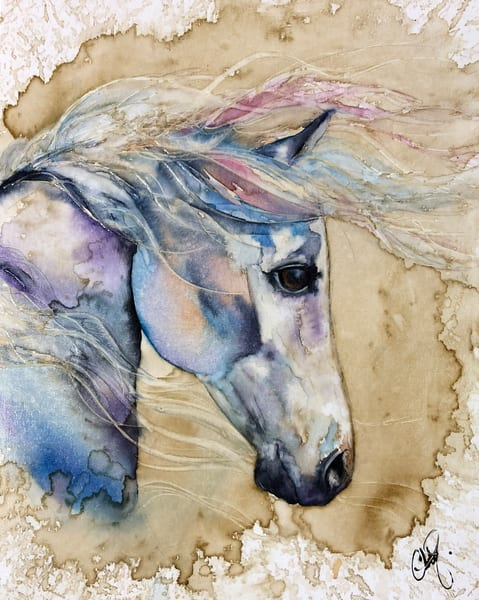 White Wind Horse Mane Watercolor Painting