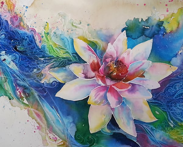 Zen Watercolor Lotus Flower Painting