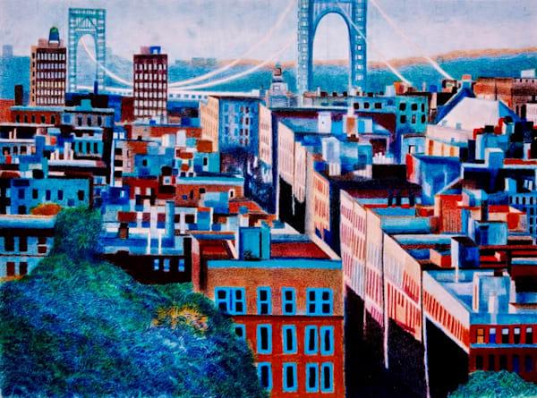 Washington Heights Scene With Gw Bridge Upper Manhattan | lencicio
