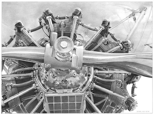 Radial Engine Pencil Art   Andre Junget Illustration LLC