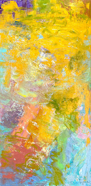 Original yellow abstract oil painting