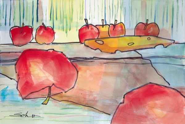 Apples And Cheese Art | Elaine Schaefer Hudson Art