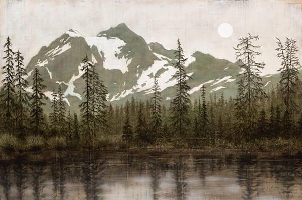 Moonrise Over Shuksan Art | Fountainhead Gallery