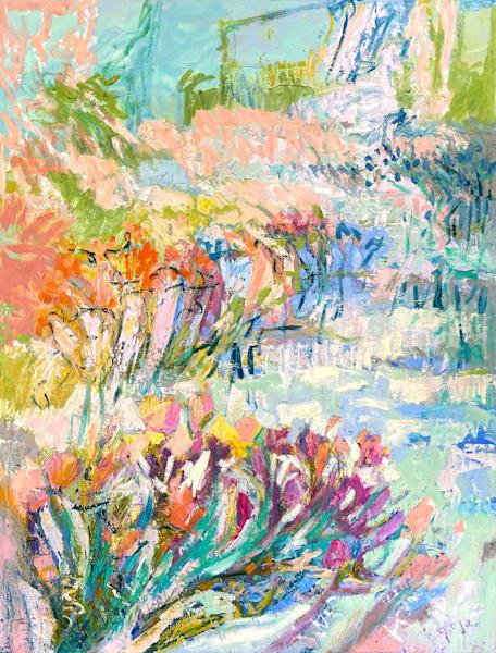 Flower garden pastel painting