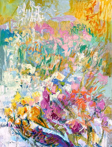 Garden floral pastel painting