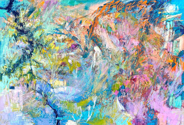 Colorful cool coastal abstract oil painting